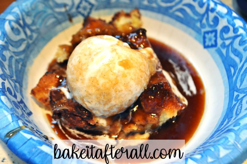 bread pudding with bourbon or dark rum caramel sauce