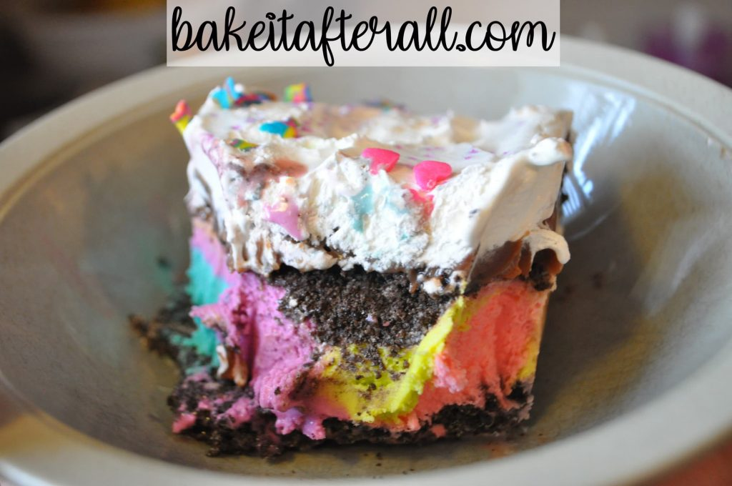 square of ice cream cake to show neon colors inside