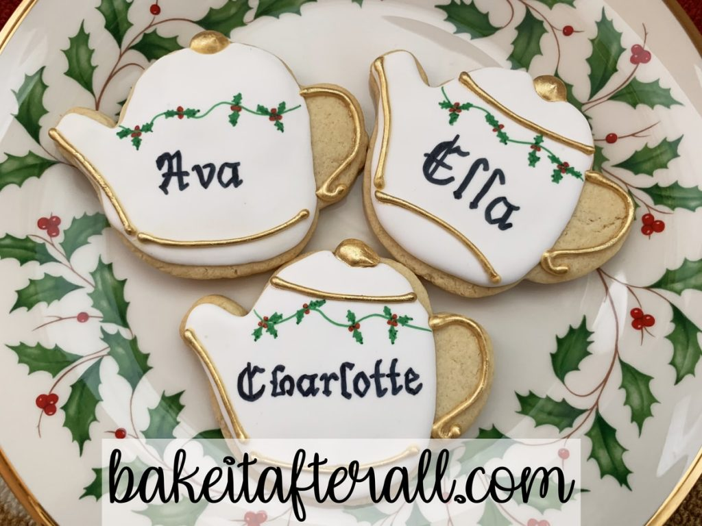 teapot sugar cookies name cards Christmas holly holiday