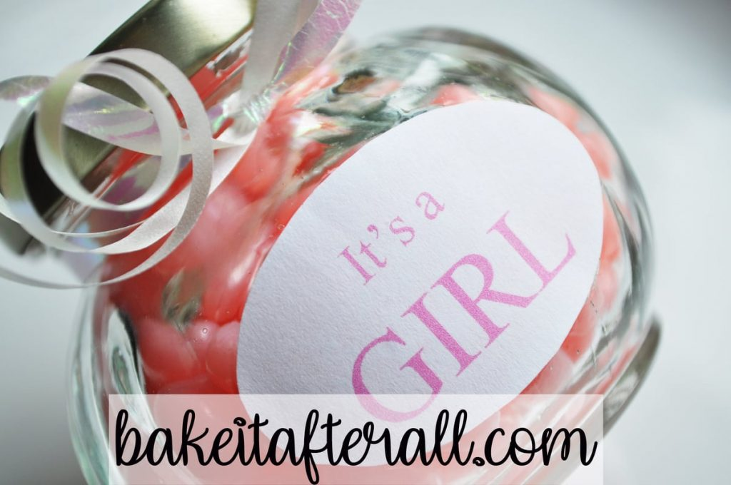 "jar of pink candy with label ""It's a GIRL"""