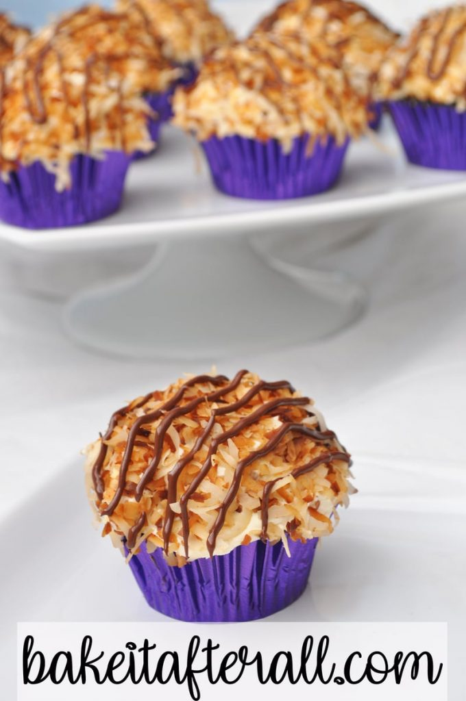 samoa cupcakes with easy dulce de leche buttercream