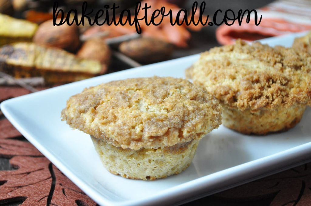 allspice crumb muffins on a white plate