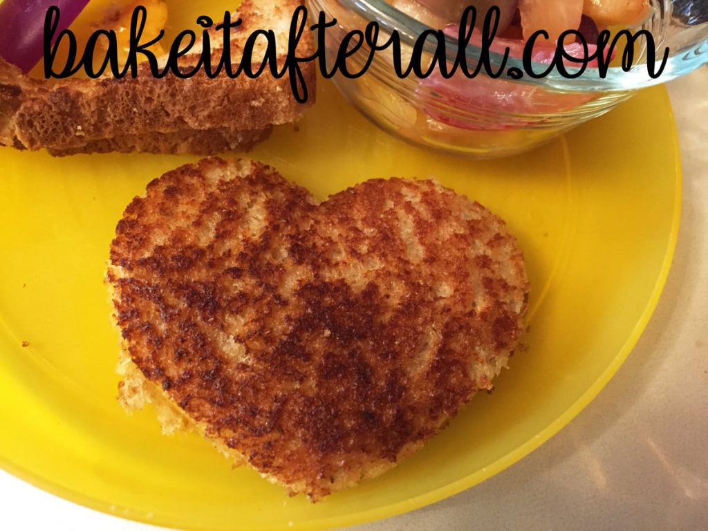 Tea Party Ideas for Kids Grilled Cheese cut into heart shapes on a plate
