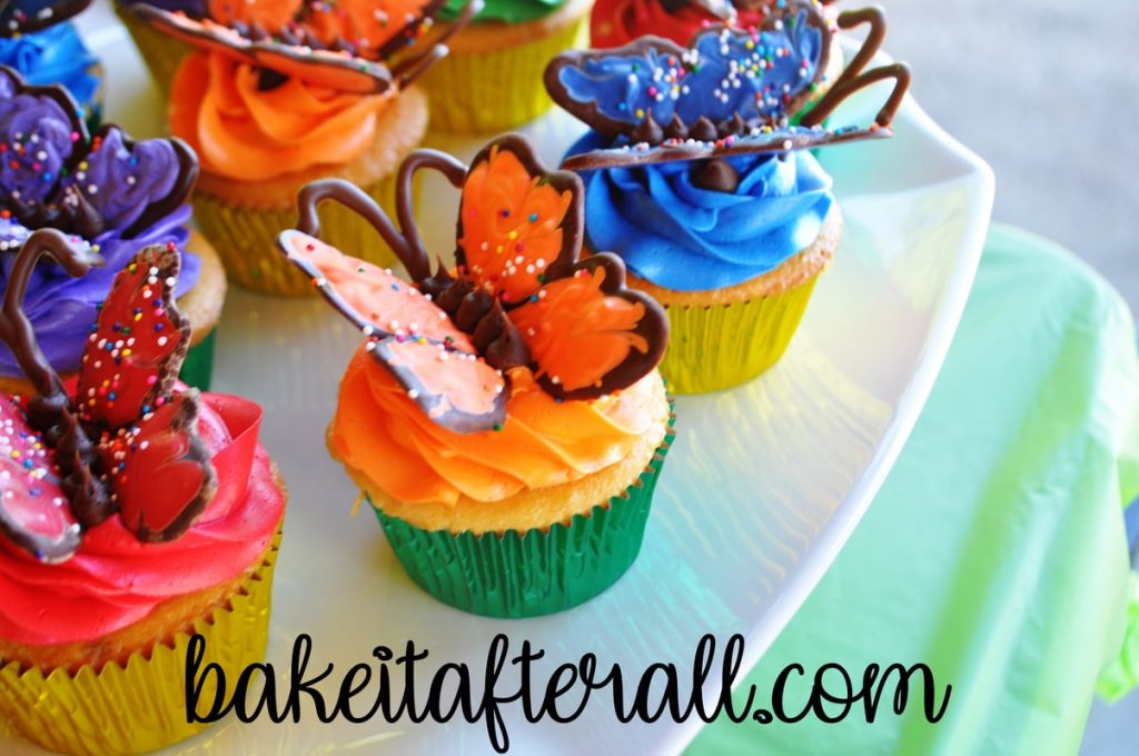 Butterfly Cupcakes on a white plate