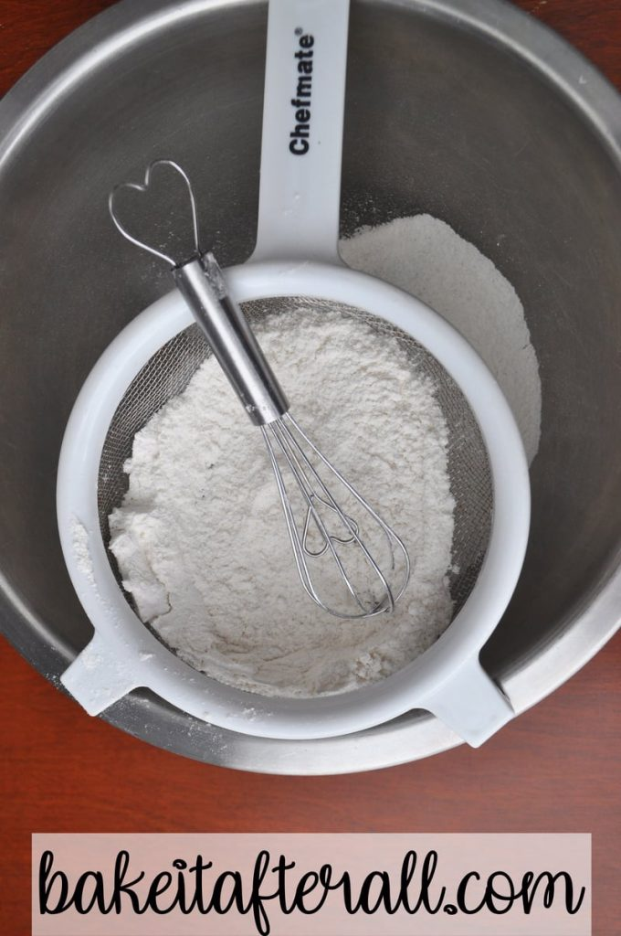 small wire whisk to get flour mixture through wire strainer