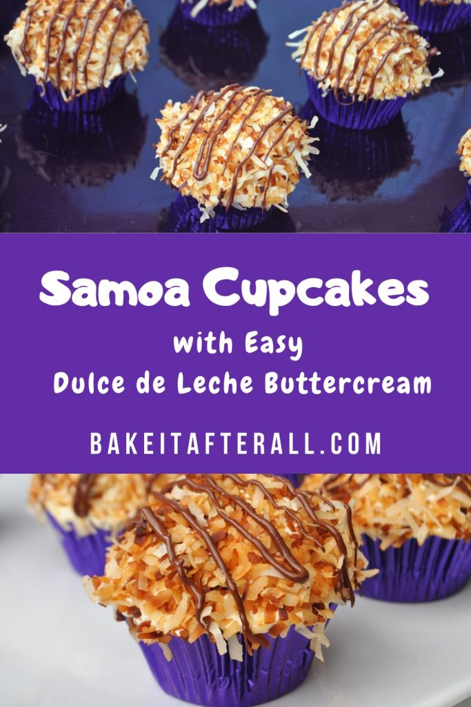 pin for samoa cupcakes with easy dulce de leche buttercream