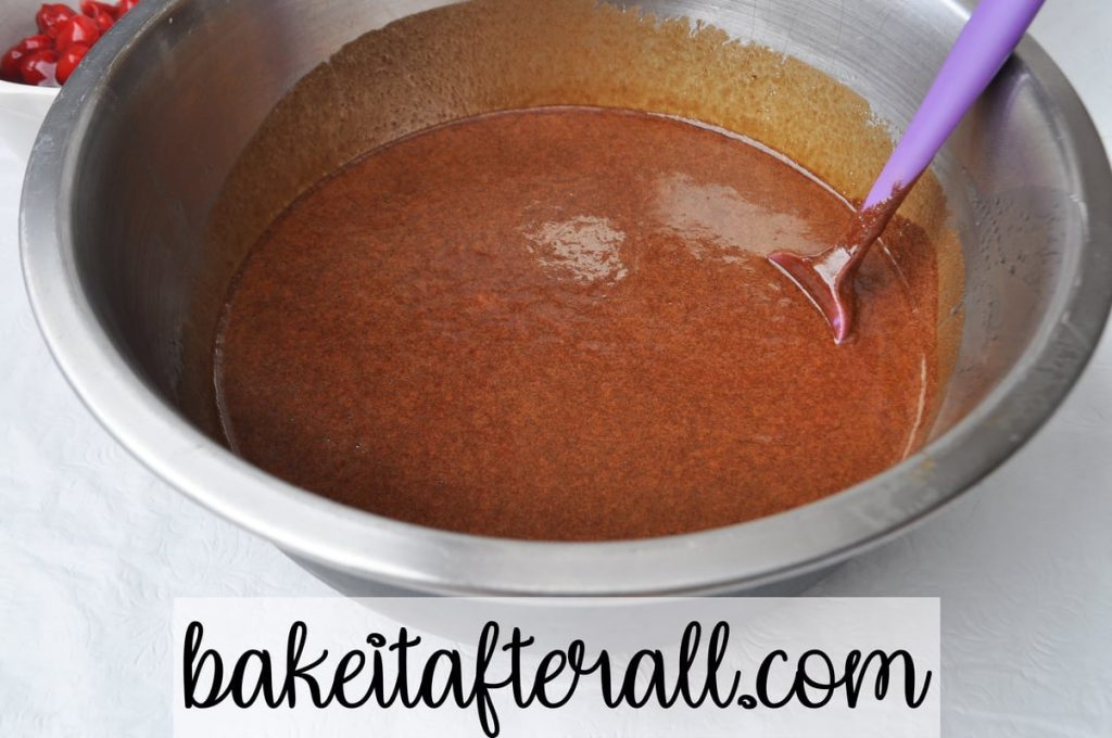 bowl of chocolate cake batter