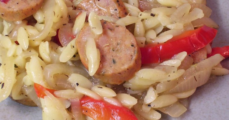 Ale Braised Sausages and Peppers