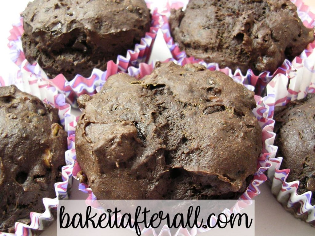 healthy chocolate banana bread muffins