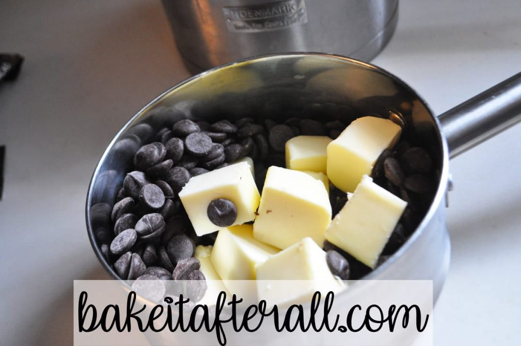 butter and chocolate in double boiler