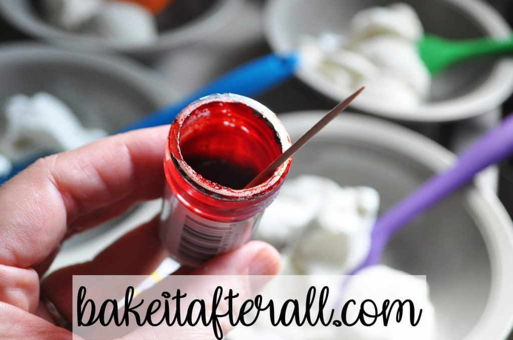 toothpick in red food coloring