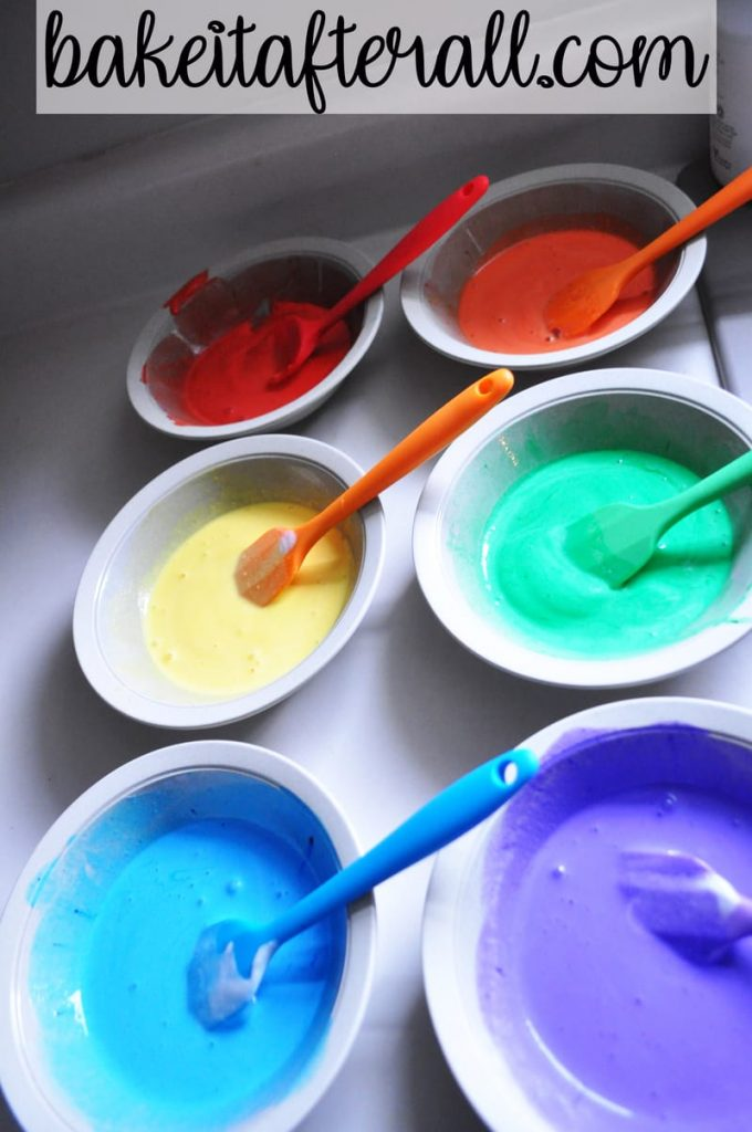 bowls of rainbow colored ice cream