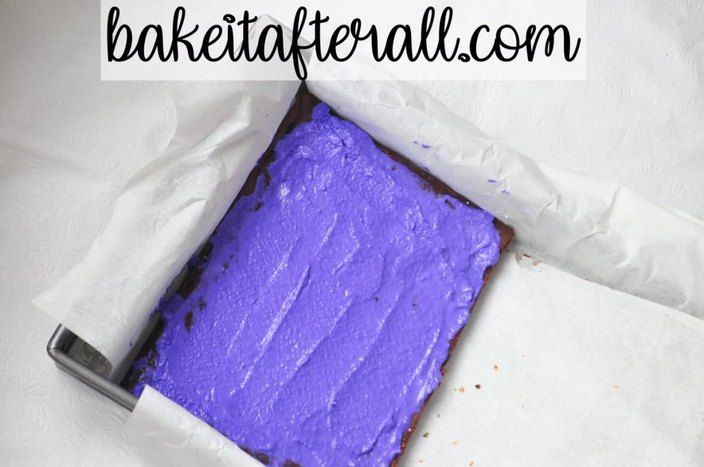 purple ice cream layer for Rainbow Brownie Ice Cream Sandwiches