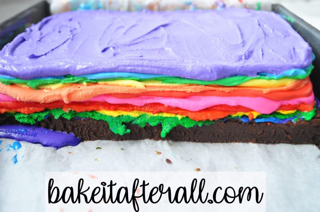 rainbow ice cream layers on brownie base for Rainbow Brownie Ice Cream Sandwiches