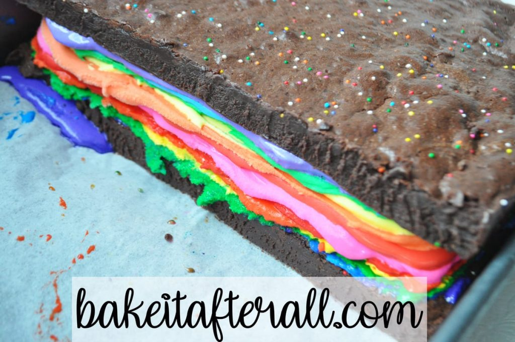 rainbow brownie ice cream sandwiches uncut for Rainbow Brownie Ice Cream Sandwiches