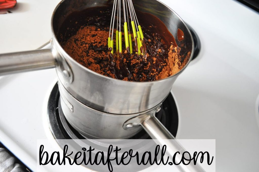 whisking in cocoa powder
