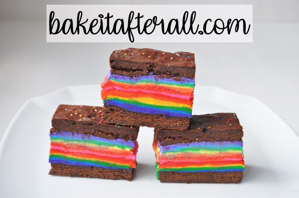 Rainbow Brownie Ice Cream Sandwiches