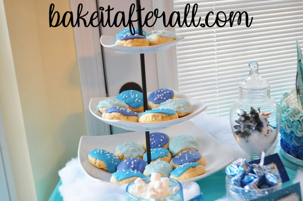 3 tiered server with soft frosted sugar cookies