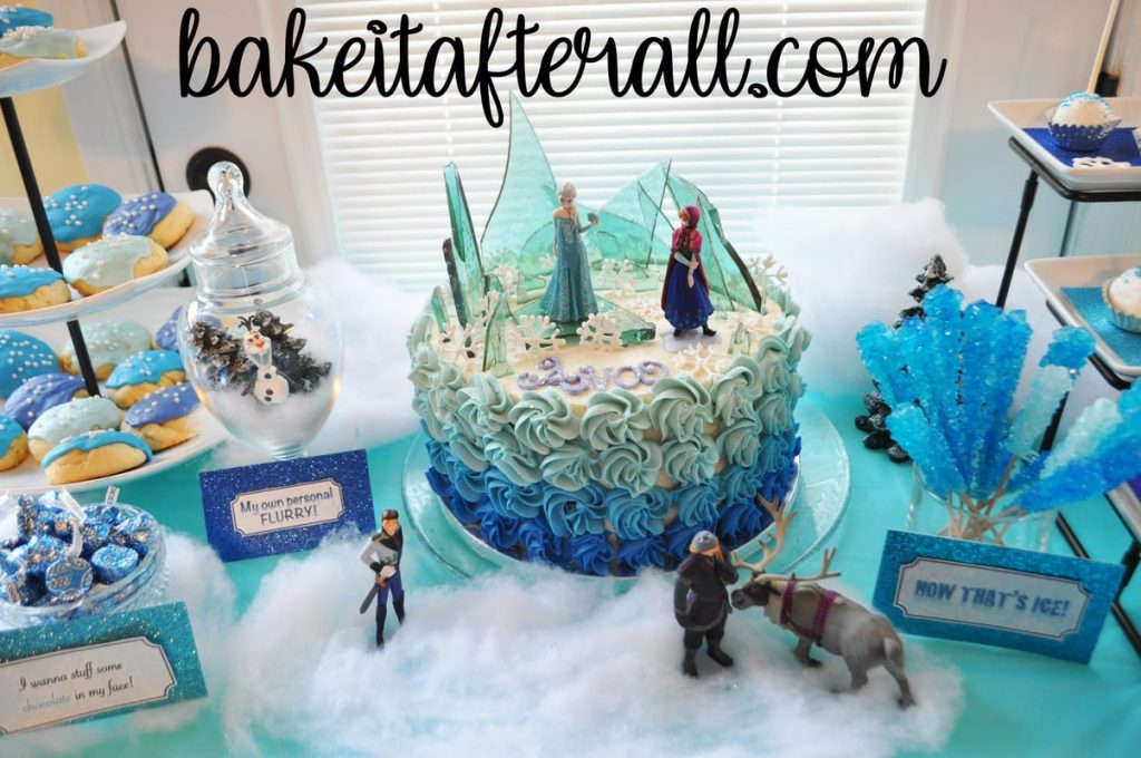 Frozen cake and dessert table