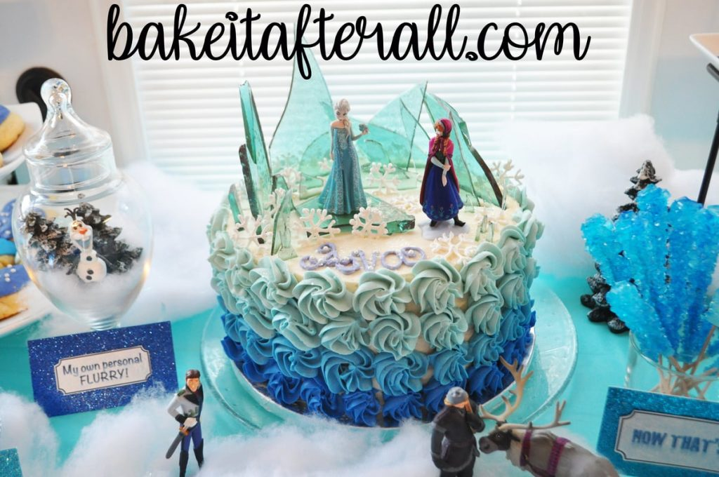 Frozen cake on dessert table
