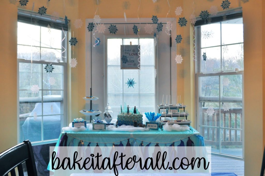 frozen birthday dessert table