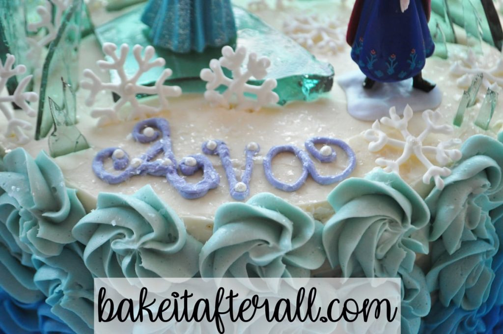 zoomed in top of frozen cake