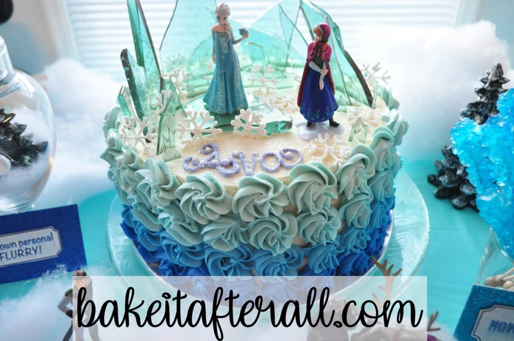 closer view of frozen cake