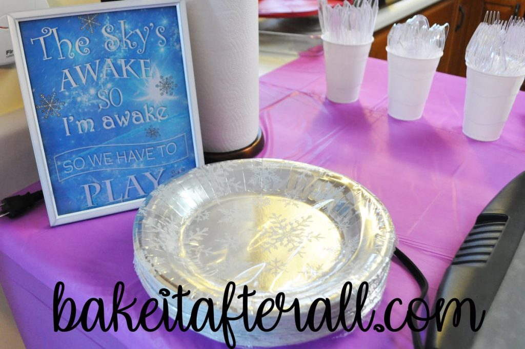 snowflake plates and frozen subway art