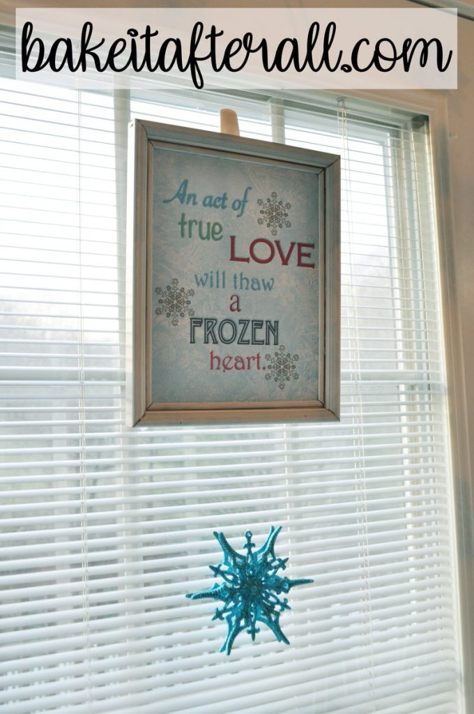 Frozen subway art and hanging snowflake ornament