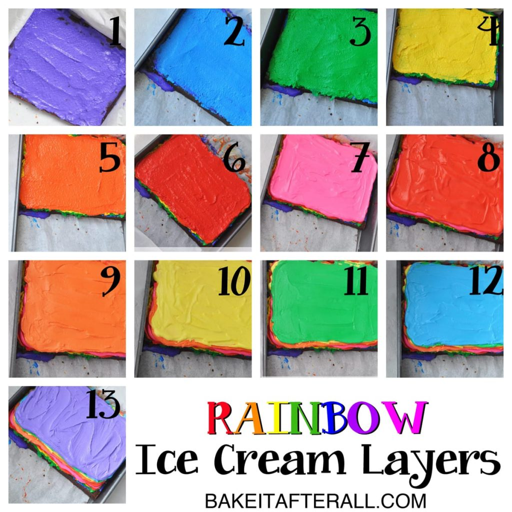 Rainbow Brownie Ice Cream Sandwiches Ice cream layers collage