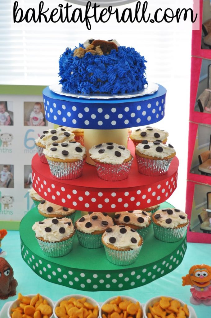 Sesame Street Birthday Party chocolate chip cookie cupcakes