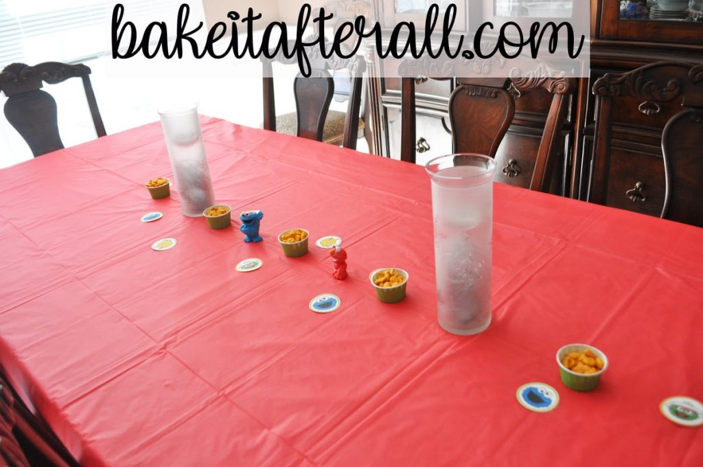 Sesame Street Birthday Party  table decorated with sesame street figures