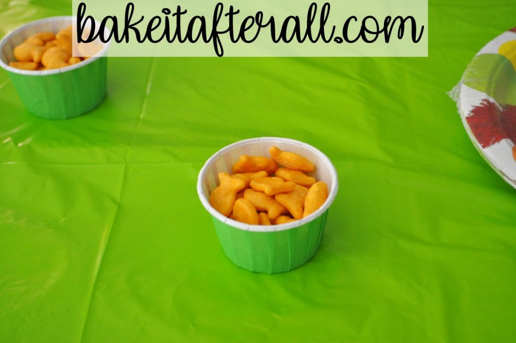 goldfish crackers in candy cup on table