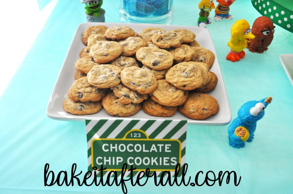 plate of chocolate chip cookies on Sesame Street Birthday Party dessert table