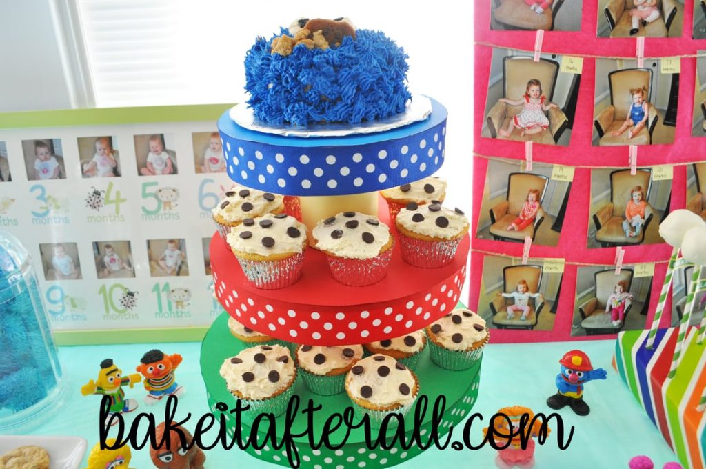 DIY Cupcake Stand with Chocolate Chip Cookie cupcakes and cookie monster cake