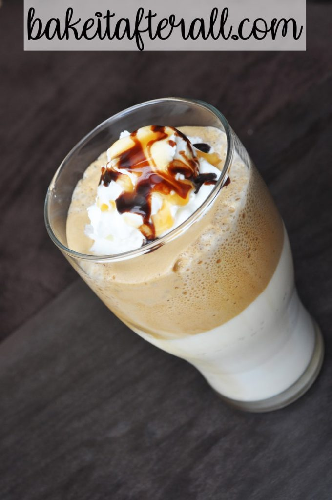easy dalgona whipped coffee with whipped cream and caramel sauce and chocolate syrup on top
