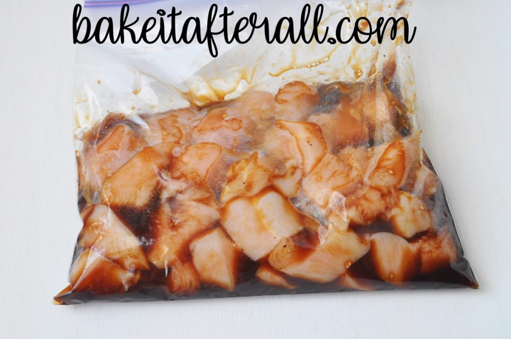 resealable gallon sized bag filled with chicken breast pieces and marinade