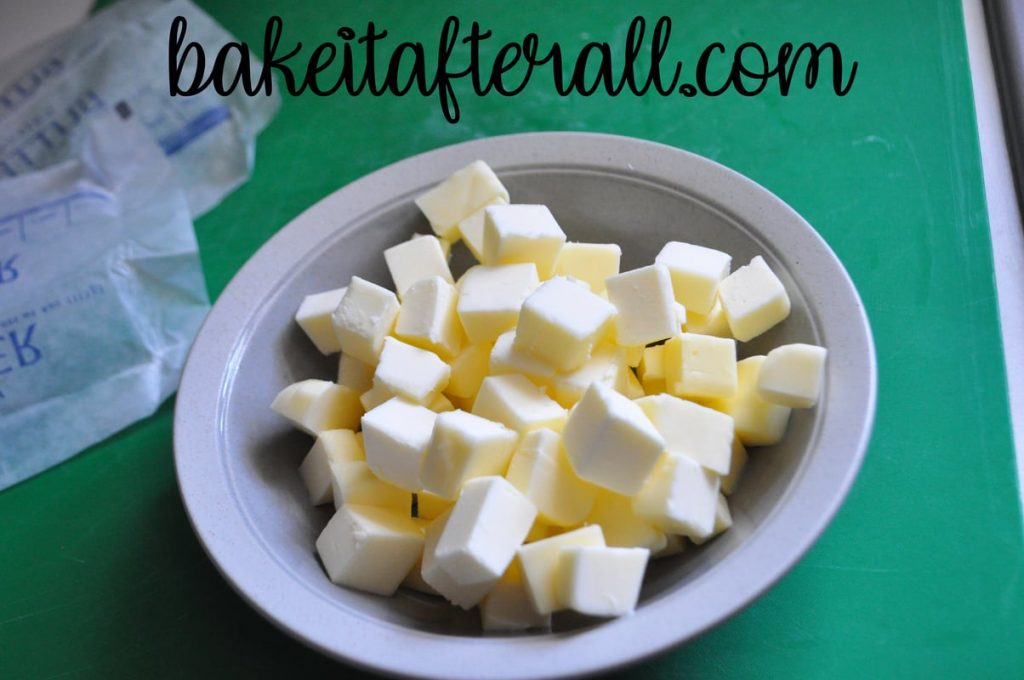 diced butter in a bowl