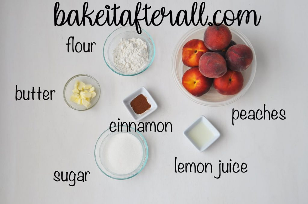 ingredients laid out for homemade fresh peach pie