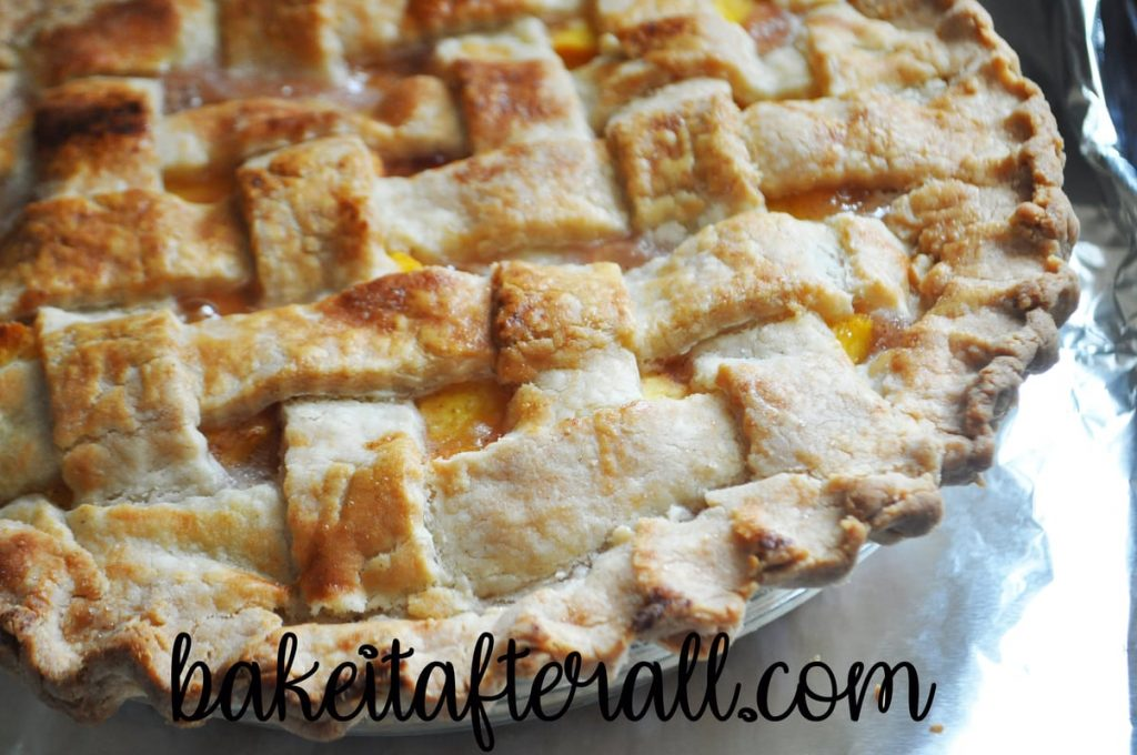 easy fresh peach pie with lattice top just out of the oven