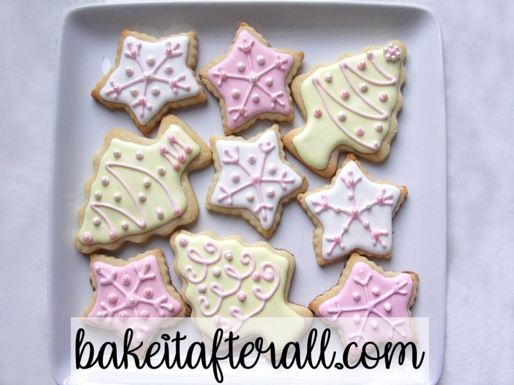 Pastel Christmas Cookies decorated with royal icing