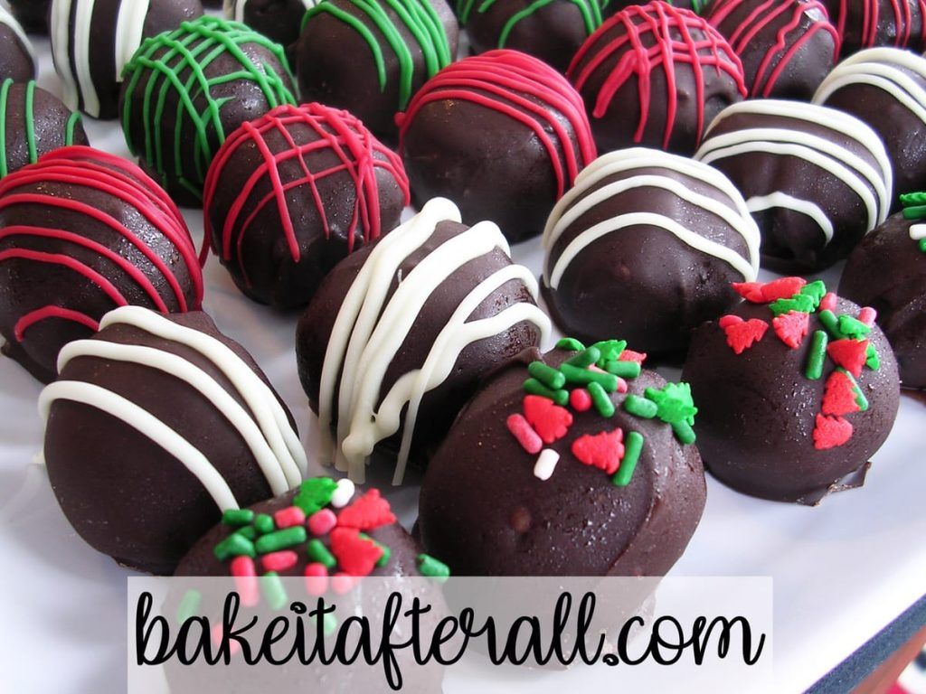Holiday Oreo Truffles on a white plate