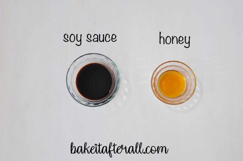 soy sauce and honey in separate bowls