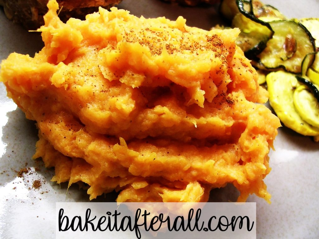 smashed sweet potatoes for two