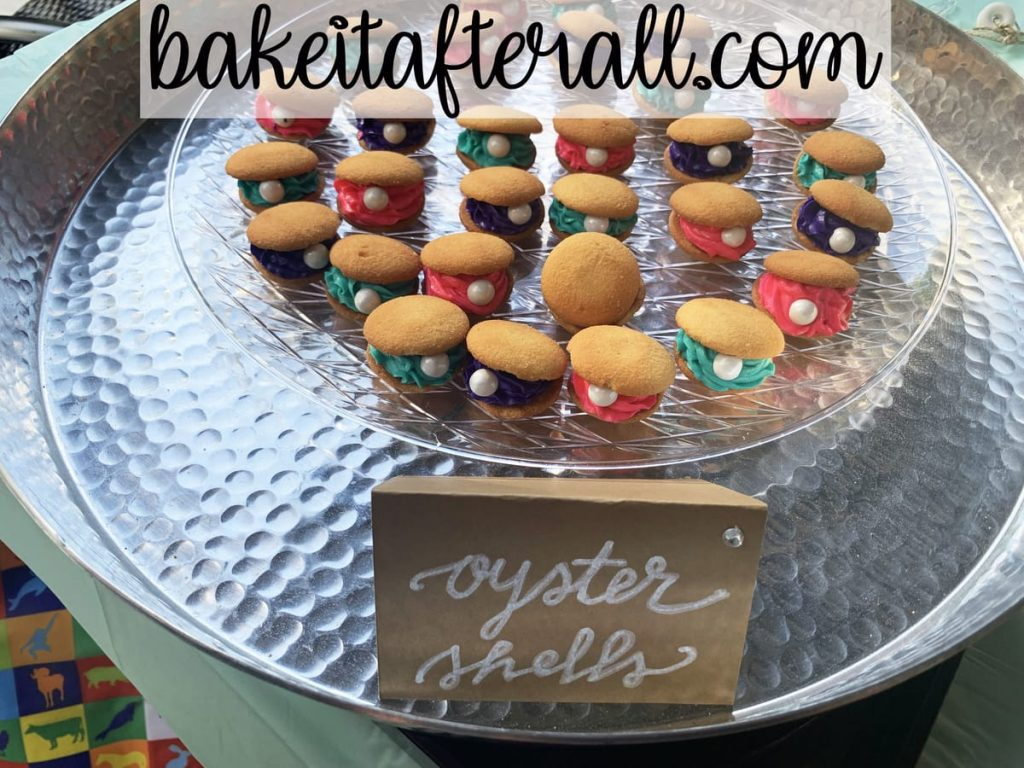 silver tray with serving platter of oyster shell cookies