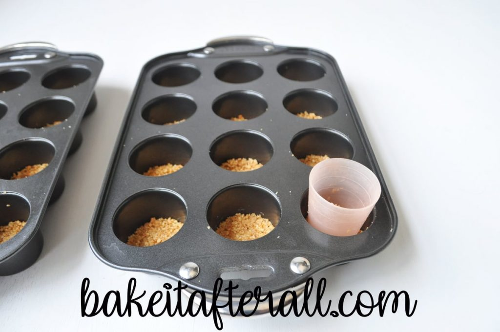 mini cheesecake pan filled with graham cracker crusts and a little cup to push them down