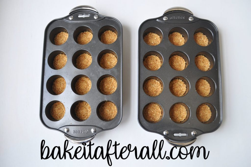 mini cheesecake pans filled with graham cracker crusts