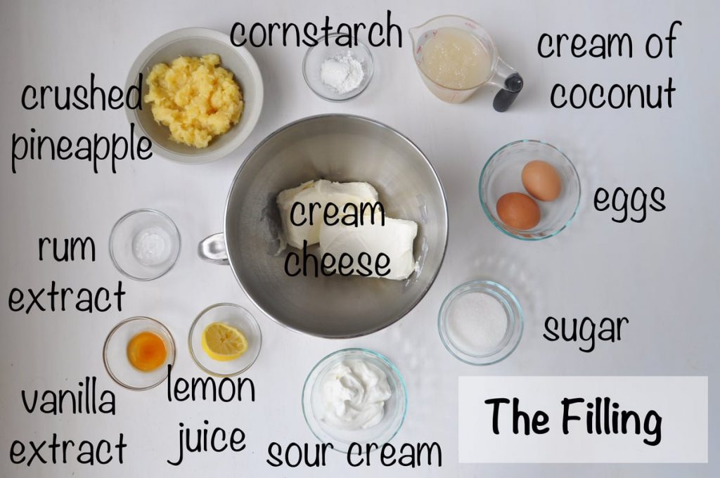 cheesecake filling ingredients laid out on flat surface and labeled