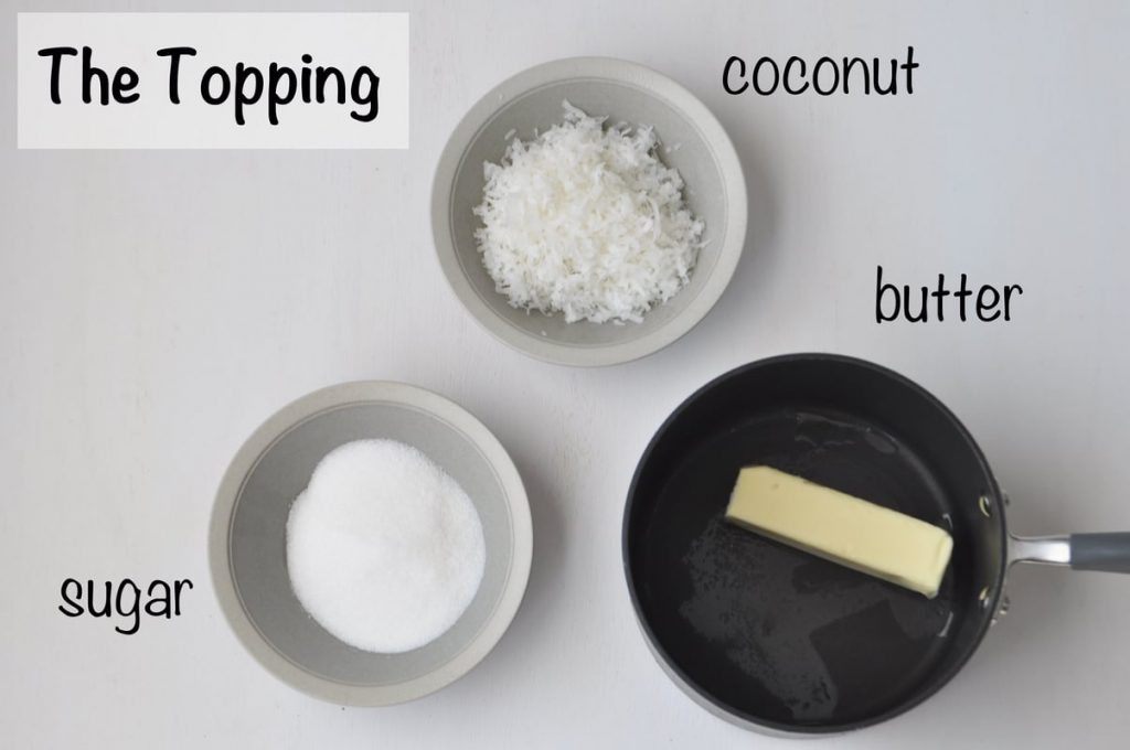 cheesecake topping ingredients laid out on a flat surface and labeled