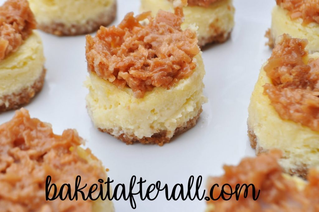 mini pina colada cheesecakes with candied coconut topping